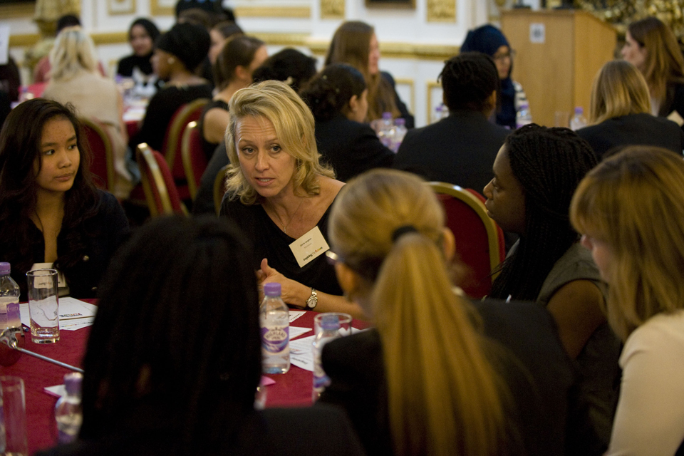 Carrie Longton talking to young women at the launch event