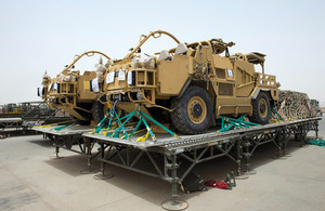Jackal vehicles ready for transporting back to the UK [Picture: Corporal Jamie Peters, Crown copyright]