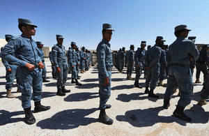 Afghan Uniform Police recruits on parade at the opening of the Lashkar Gah Training Centre's new complex (library image) [Picture: Corporal Si Longworth, Crown copyright]