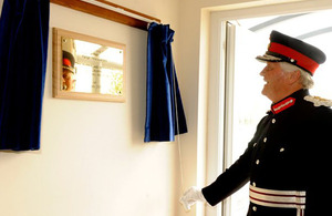 HM Lord-Lieutenant of Lincolnshire, Mr Tony Worth unveils plaque to mark opening of new HQ building at AWR Holbeach