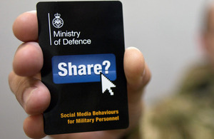 The defence community's Think Before You Share page