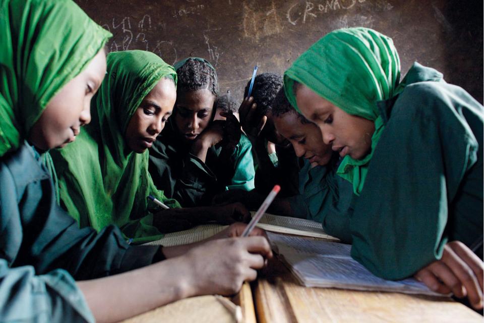 Girl pupils studying