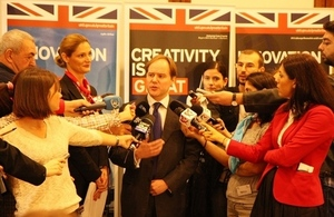 Ambassador Harris talking to the press
