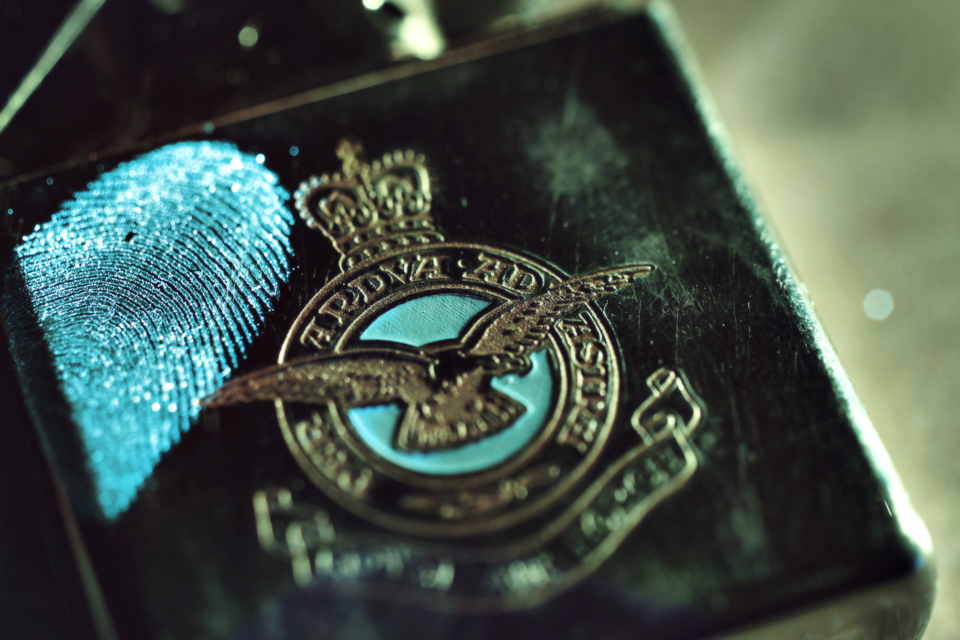 A fingerprint captured on a RAF lighter