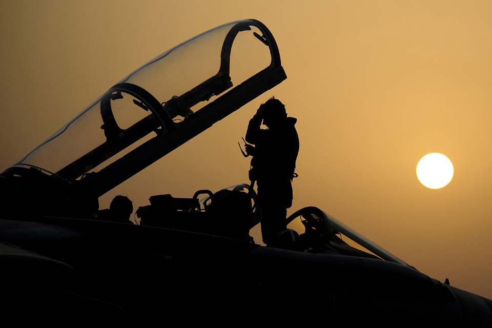 31 Squadron pilot silhouetted