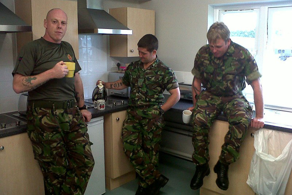 Soldiers from Welsh Guards use communal facilities in new accommodation at Hounslow Barracks.