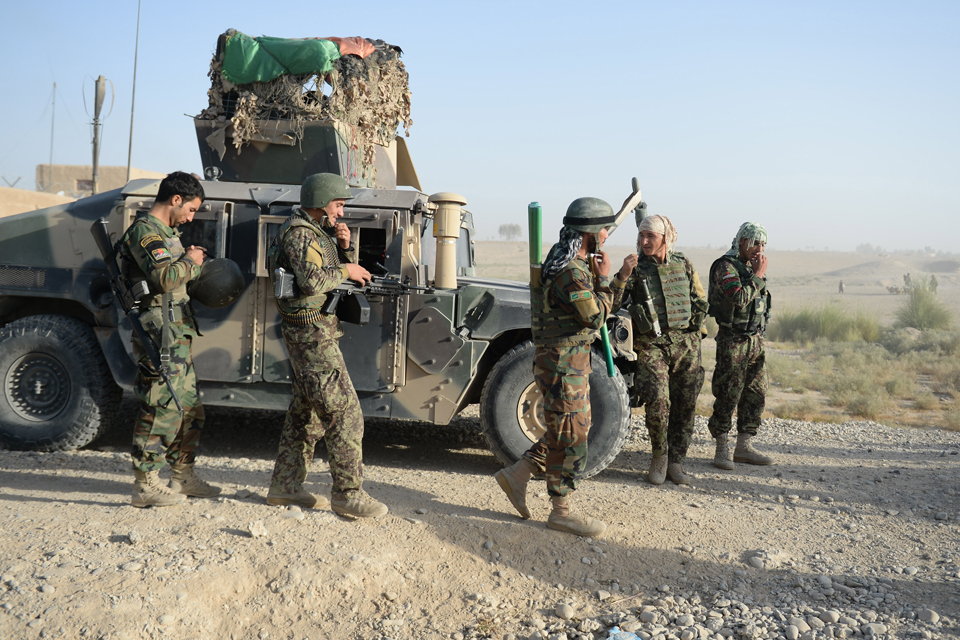 Soldiers of the Afghan National Army carry out an operation