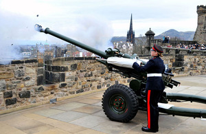 Sergeant Sarah Smith fires the One O'Clock Gun from Edinburgh Castle to mark International Women's Day 2011