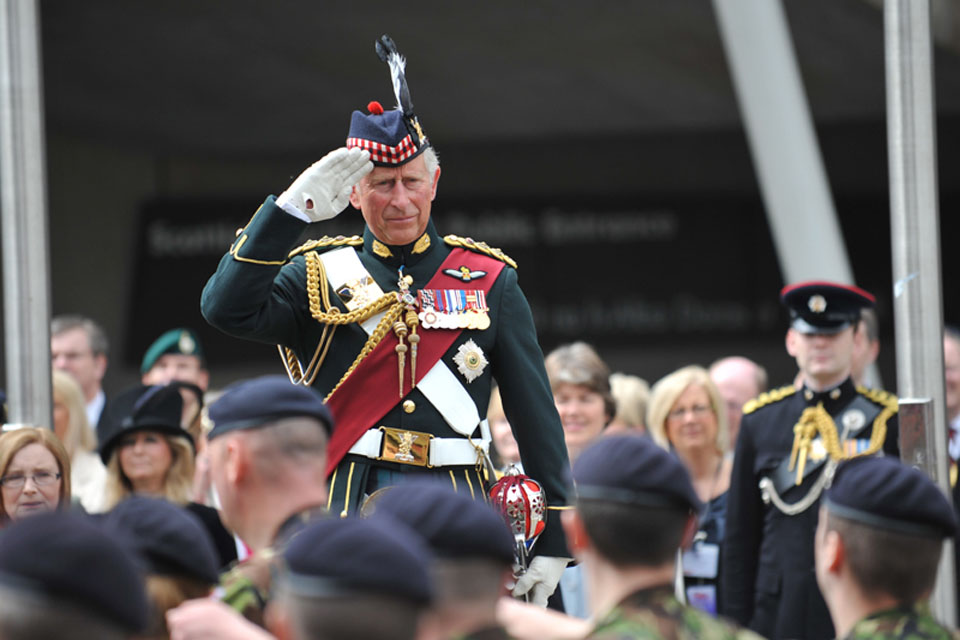 His Royal Highness The Prince of Wales takes the salute as troops march past at the Armed Forces Day national event in Edinburgh