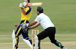 The Indian Army's Colonel Gahan Deep Singh goes in for a catch
