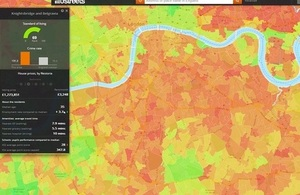 Screenshot showing colour-coded map areas in London