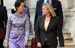 International Development Secretary Justine Greening walks with Daw Aung San Suu Kyi on the way to 10 Downing Street. Picture: FCO/Patrick Tsui