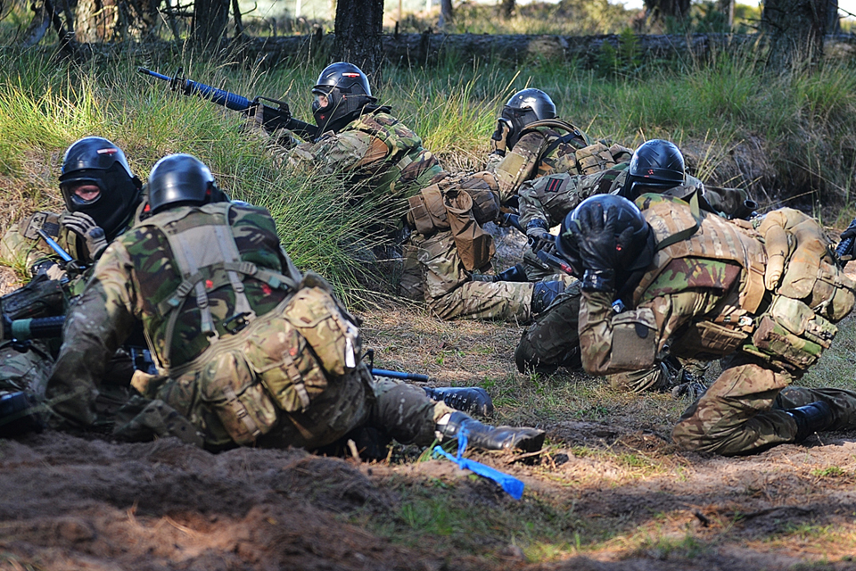 British Army reservists from 7 RIFLES taking part in a platoon attack