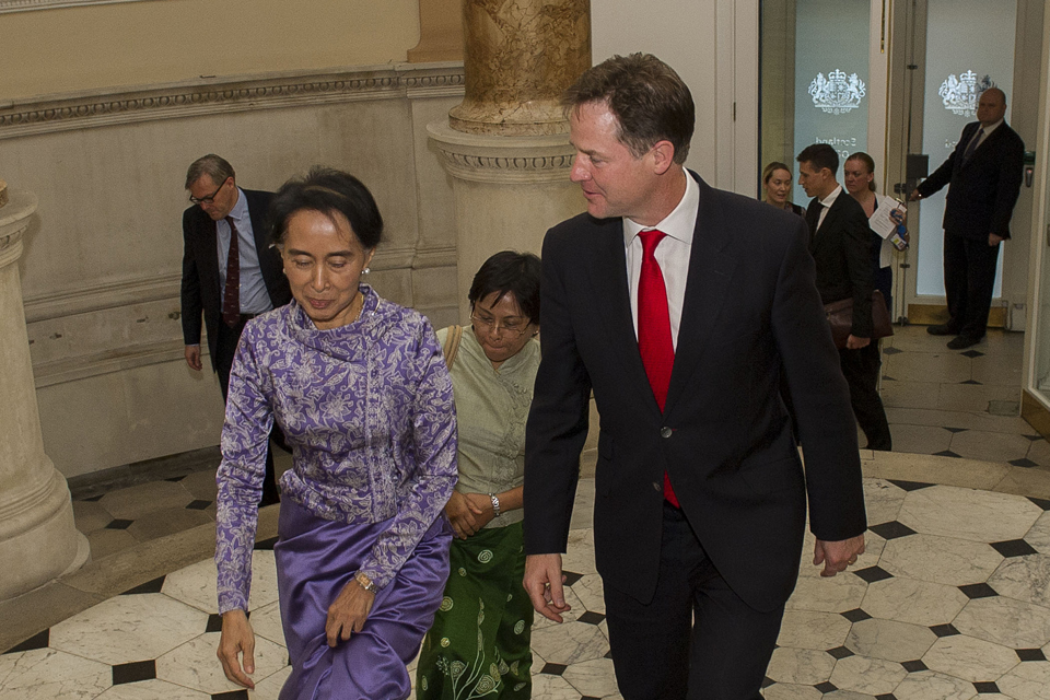 Deputy Prime Minister Nick Clegg greets Daw Aung San Suu Kyi