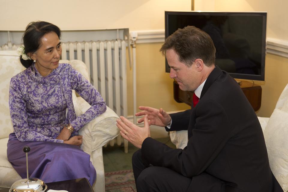 Daw Aung San Suu Kyi and Deputy Prime Minister Nick Clegg