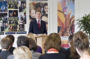 Nick Clegg delivering his speech at Morpeth School