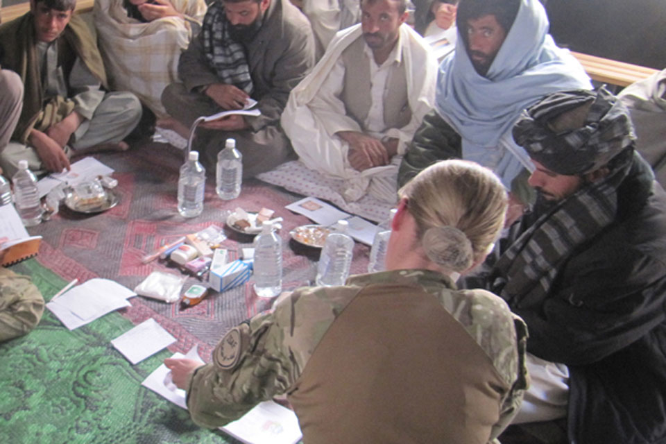 Captain Stewart's colleague Major Nicola Macleod runs a health workshop for local Afghans in the village of Kushal in Helmand province