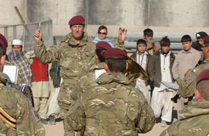 The Band of The Parachute Regiment playing to schoolchildren in Kandahar