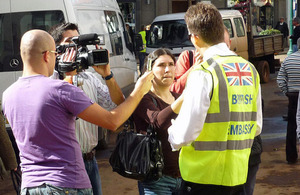 British Embassy staff speaking to media.