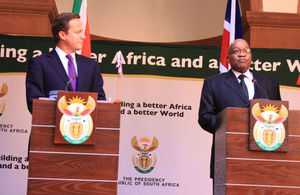 UK Prime Minister David Cameron with South Africa's President Jacob Zuma