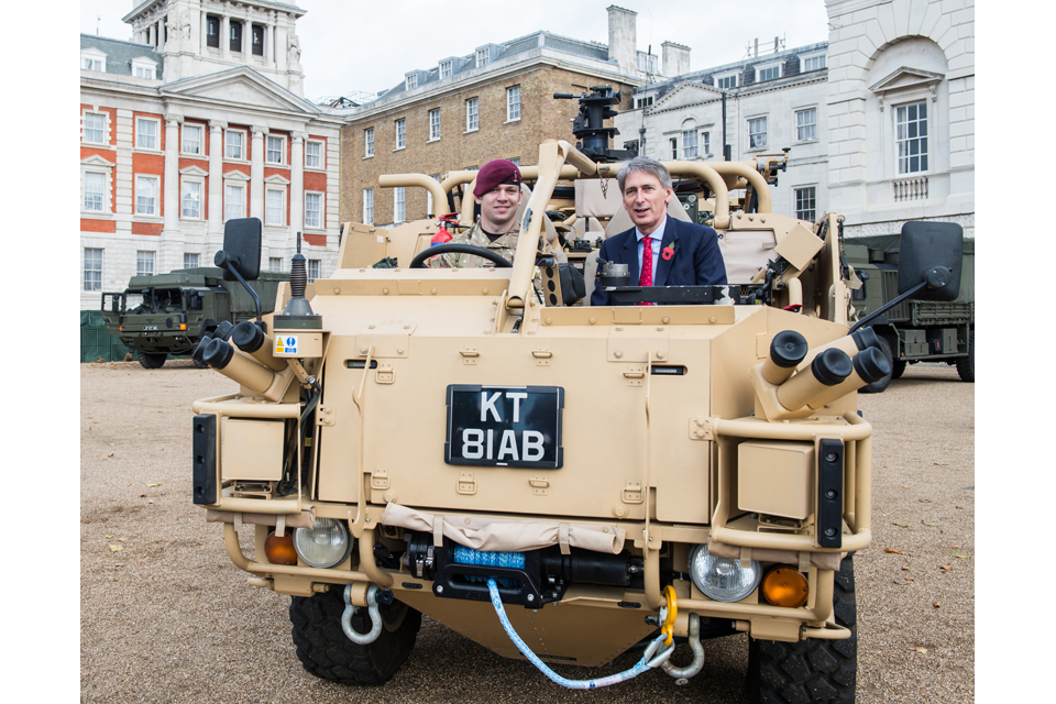 Philip Hammond in a Jackal vehicle