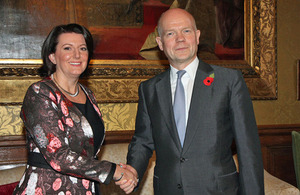 Foreign Secretary William Hague and President Jahjaga of Kosovo