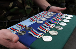 The campaign medals presented to soldiers from Alpha Troop, 244 Signal Squadron, 21 Signal Regiment (Air Support)