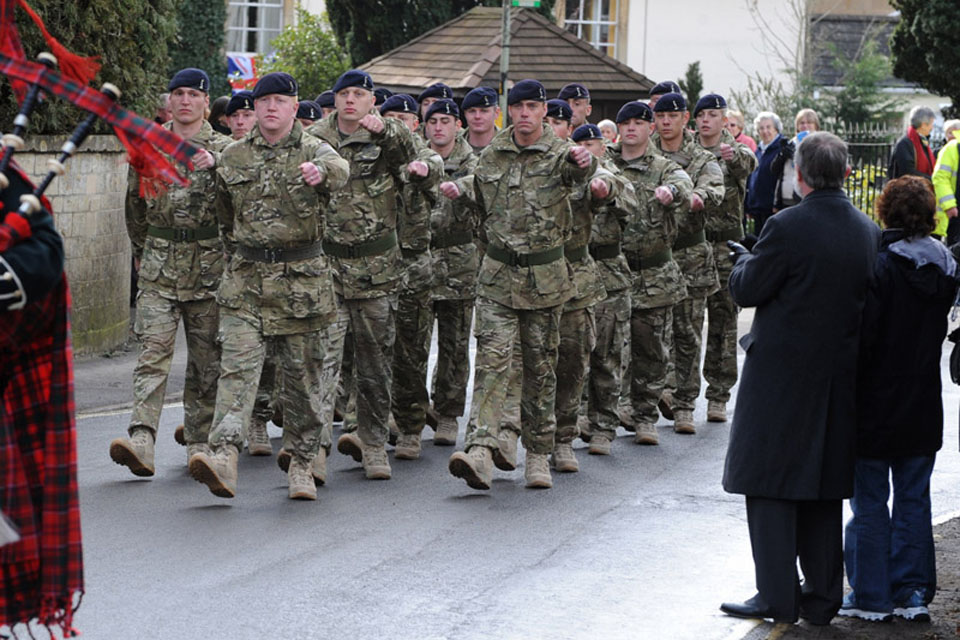Soldiers from Alpha Troop, 244 Signal Squadron, 21 Signal Regiment (Air Support) marching through Colerne