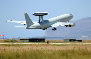 A Royal Air Force E-3D Sentry takes off from Trapani, Sicily