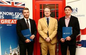 Ambassador David Slinn wished luck and success to Tomislav Korman and Senad Handanagić, two Croatian Chevening scholars