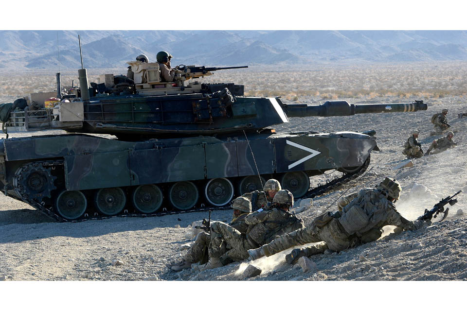 Royal Marines commandos and an American M1 Abrams tank