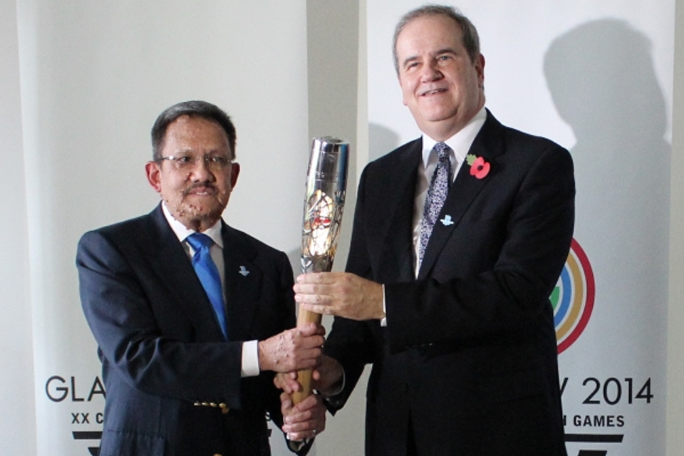 His Royal Highness Prince Sufri and His Excellency David Campbell with the Baton