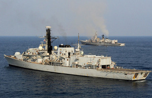 HMS Westminster (foreground) and the INS Delhi during Exercise Konkan 13 [Picture: Leading Airman (Photographer) Dan Rosenbaum, Crown copyright]