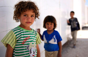 Photograph of Syrian refugee children in northern Jordan