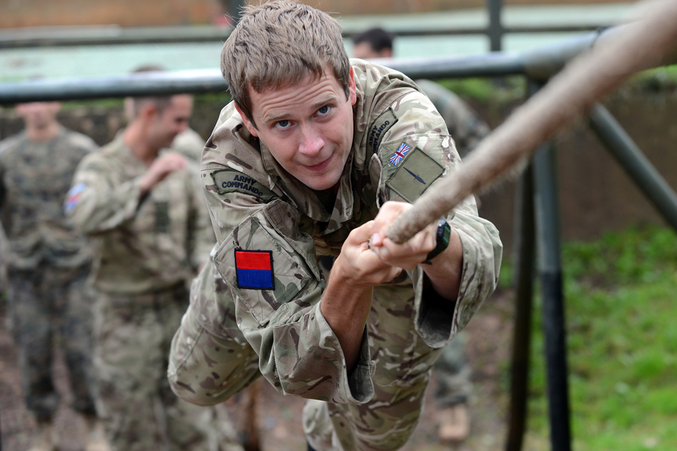A soldier on the assault course