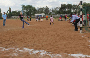 High Commissioner in Dar es Salaam, Dianna Melrose scoring.