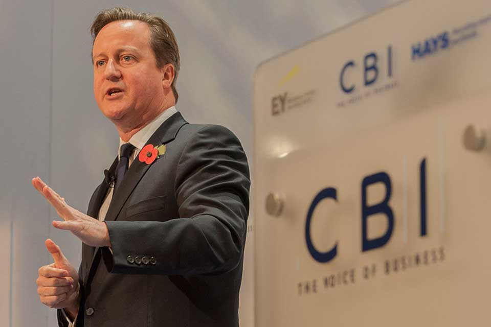 Prime Minister speaking at the CBI conference