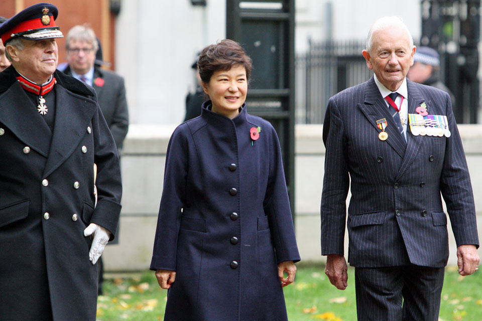 South Korean President Park Geun-Hye arriving at the Korean War Memorial Ground-Breaking Ceremony.