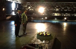 Hugh Robertson laying a wreath at Yad Vashem, the memorial of the Jewish people to those who died in the Holocaust