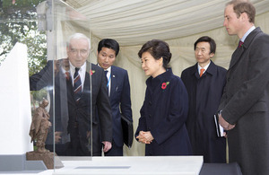 President Park Geun-hye and His Royal Highness The Duke of Cambridge view a model of the new Korean War memorial [Picture: Petty Officer (Photographer) Derek Wade, Crown copyright]