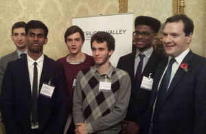 Chancellor and students at the event