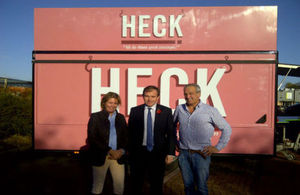 George Eustice visits sausage business, Heck Foods