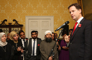 Nick Clegg speaking at the reception