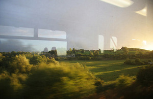 Image of countryside from train window