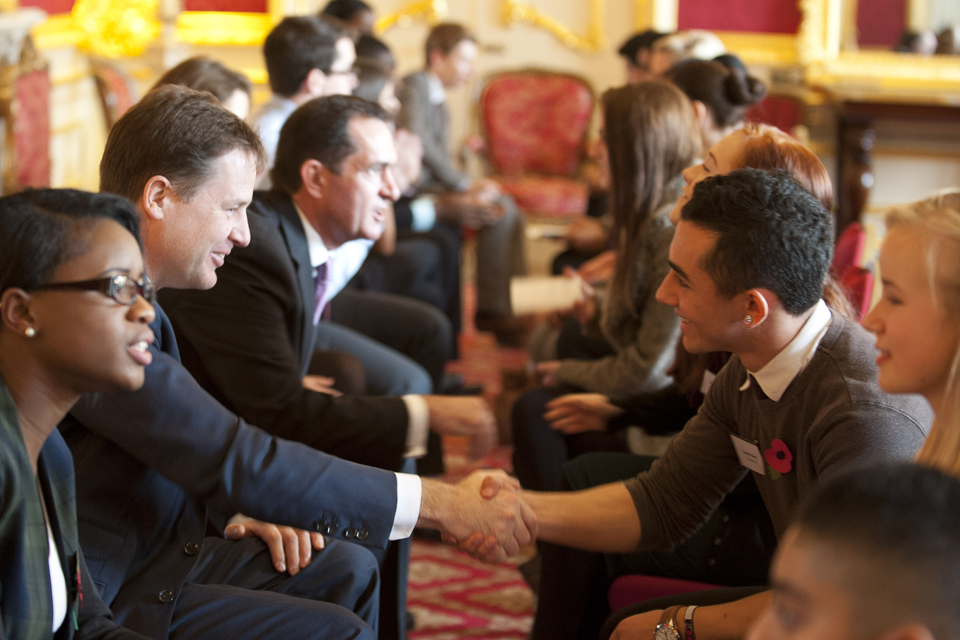 Nick Clegg taking part in the career speed dating event.