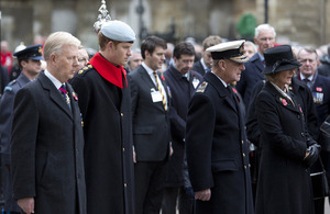 The Duke of Edinburgh and Prince Harry of Wales at the opening of the Field of Remembrance at Westminster Abbey [Picture: Petty Officer (Photographer) Derek Wade, Crown copyright]