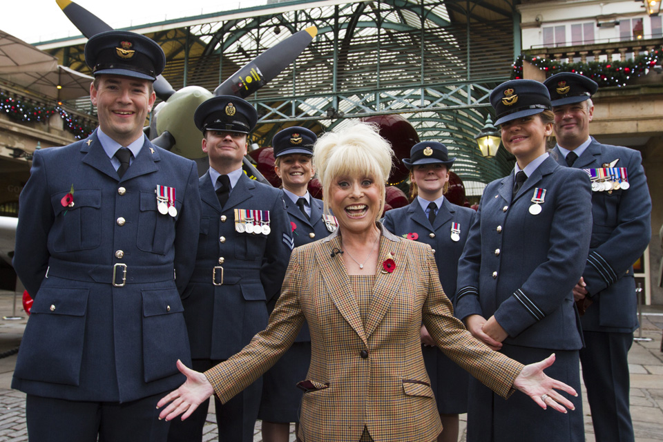 RAF personnel with Barbara Windsor