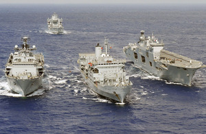 Response Force Task Group ships HMS Ocean, RFA Fort Rosalie and HMS Albion, with RFA Wave Knight in the background, during Cougar 11 (stock image)