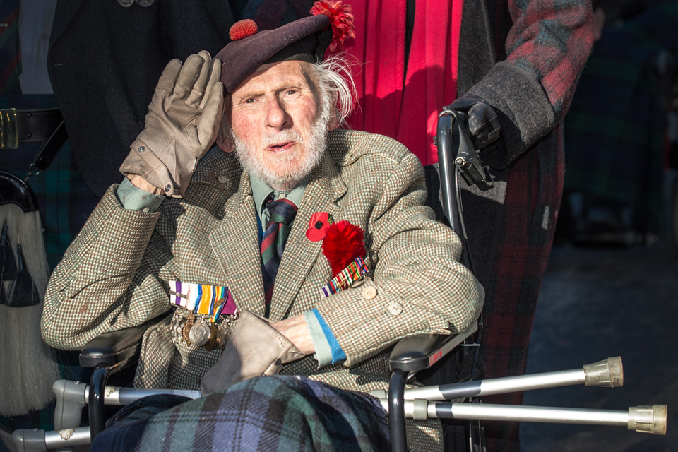 A veteran at the Cenotaph in London
