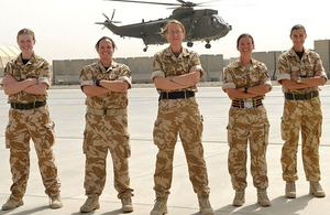 The female officers of the tri-Service engineering team line up at Joint Helicopter Command in Afghanistan